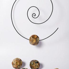 The Spiral, 2015, stoneware, glazes, metall. Woodfiring, soda firing.